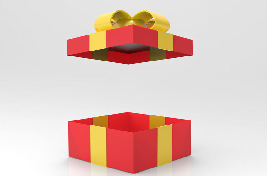 A opened Red gift or present box with yellow ribbon on gray background. Bow Box Celebration Christmas Glitter Greeting Red Ribbon Birthday Blank Color Decoration Gift Package Ribbon - Sewing Item Studio Shot Yellow