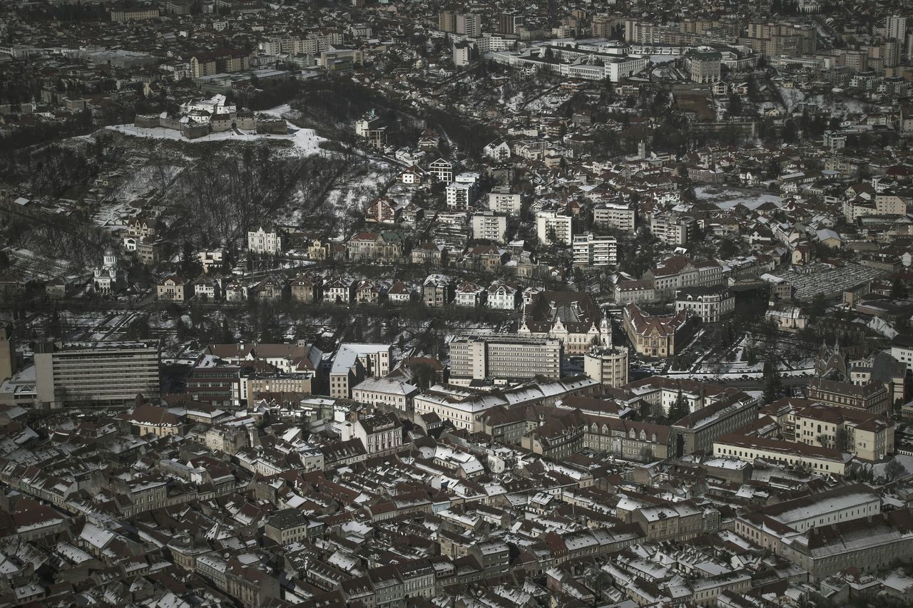 View From Above Architecture Cityscape Winter Flying High OpenEdit Brasov Romania