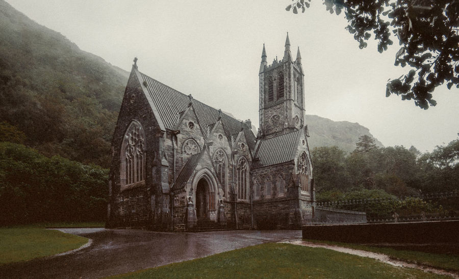 Architecture Building Exterior Built Structure Connemara National Park Day Gothic Church Ireland Kylemore Abbey & Gardens No People Outdoors Rain Religion Sky Spirituality Travel Destinations Vacations