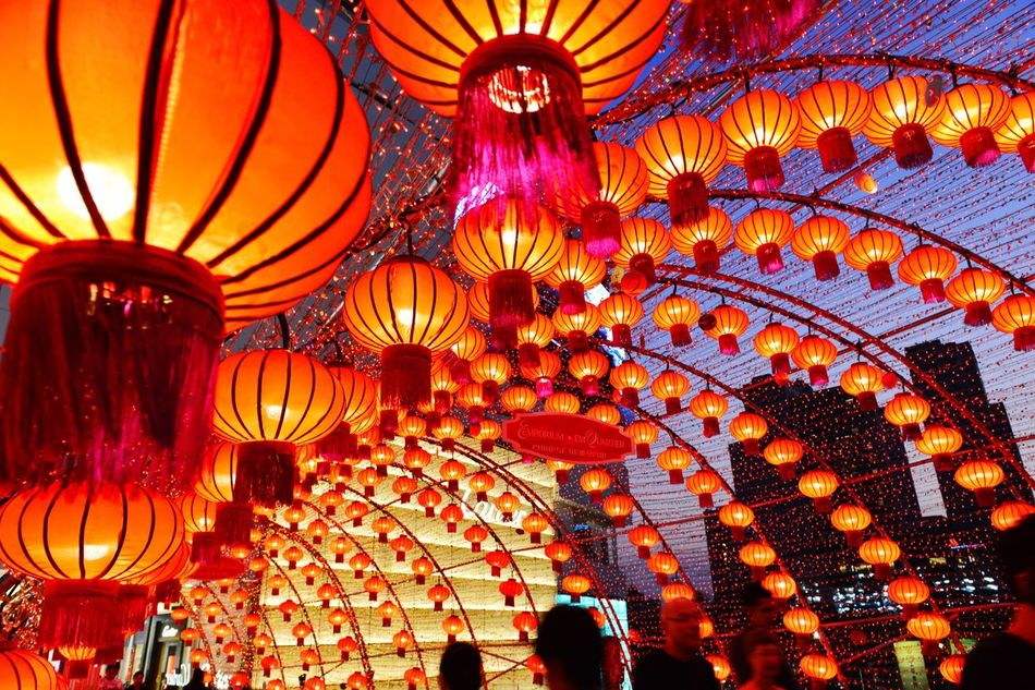 Tonight Is Look Up And Thrive Lantern Chinese Lantern Cultures Hanging Illuminated Low Angle View Chinese New Year Light It Up Evening Sky Street