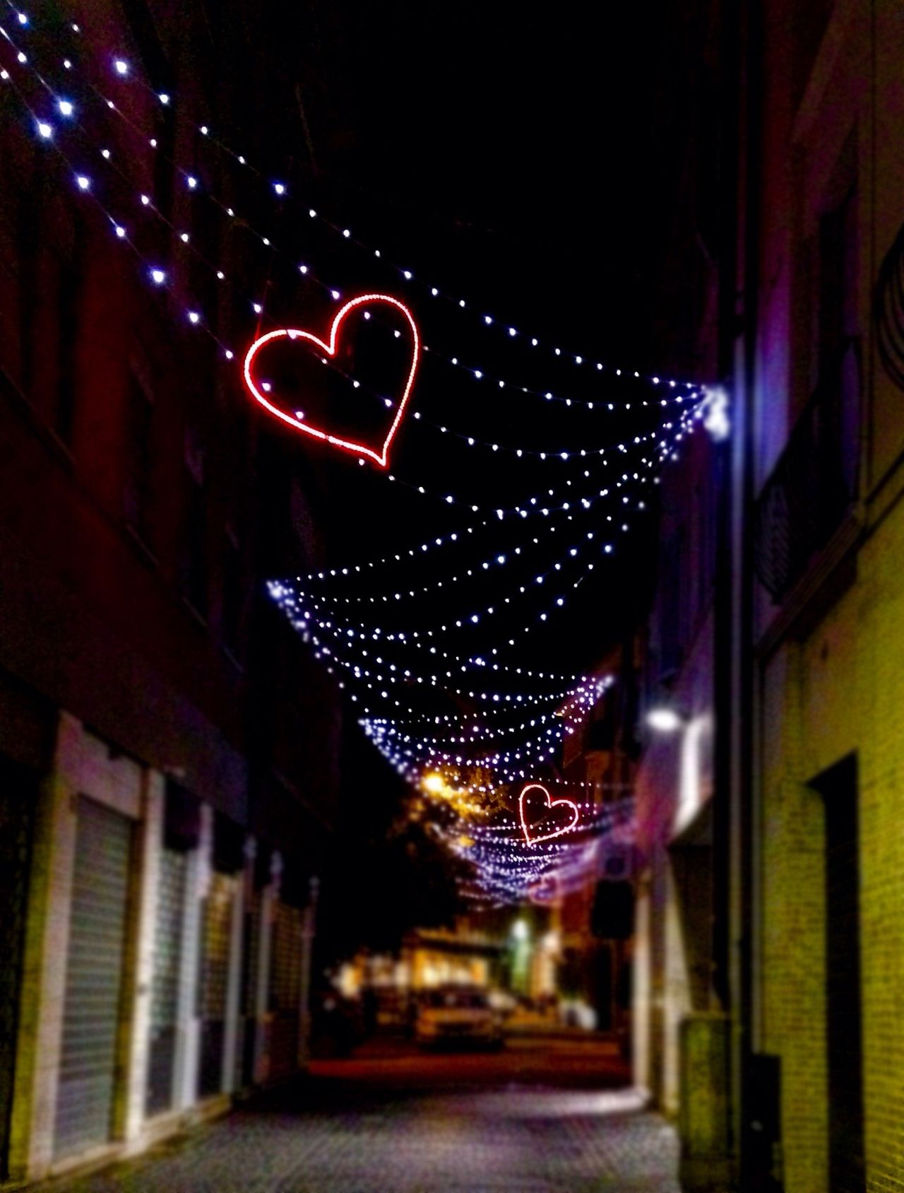 Illuminated Night Neon Architecture No People Building Exterior Outdoors Low Angle View City Valentine Valentine's Day  Red Heart Heart Shape Heartbeat Moments Love Romantic Street Lights Lighting Equipment