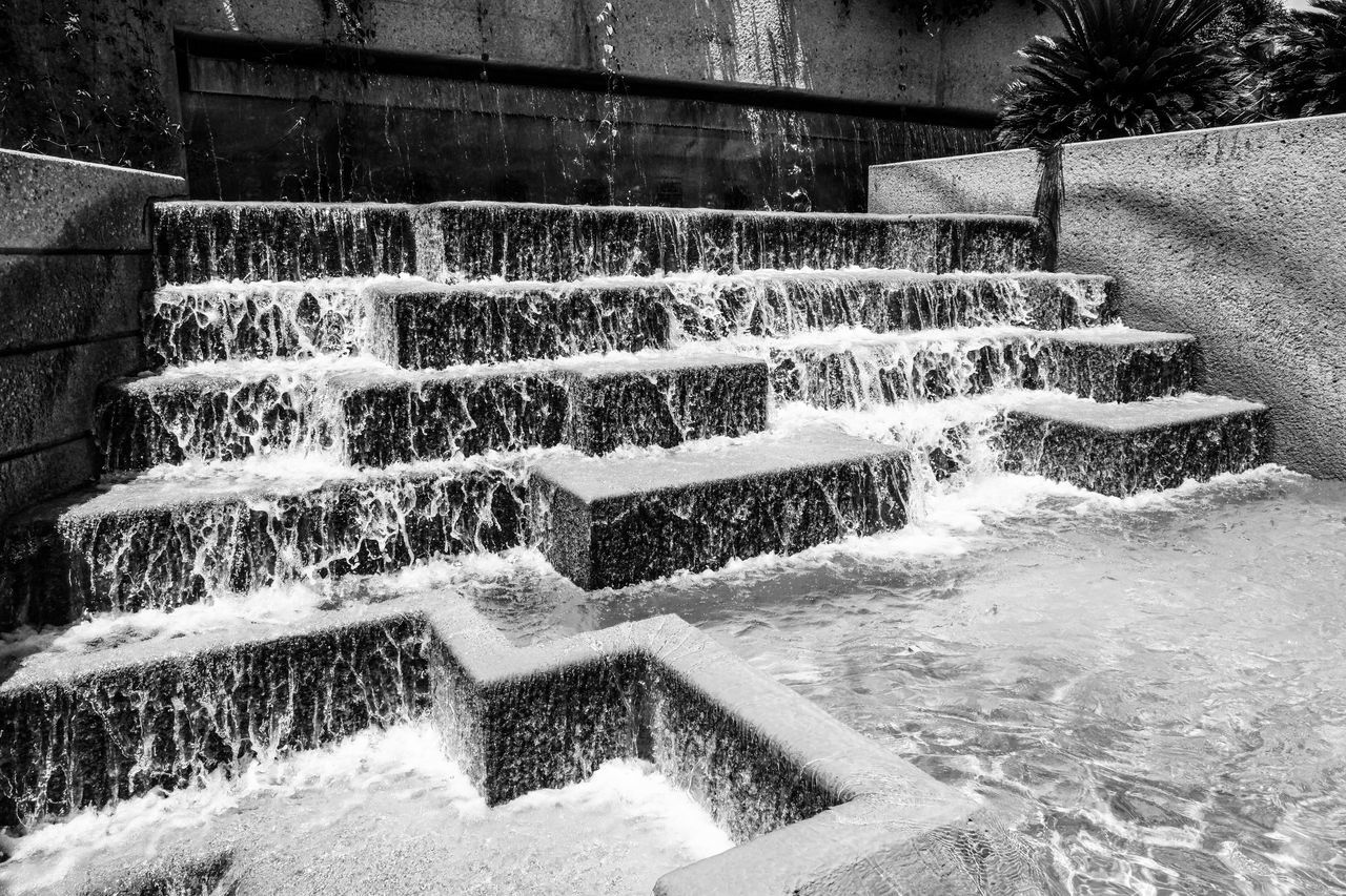 motion, steps, water, splashing, long exposure, steps and staircases, day, built structure, outdoors, no people, architecture, spraying, nature, building exterior