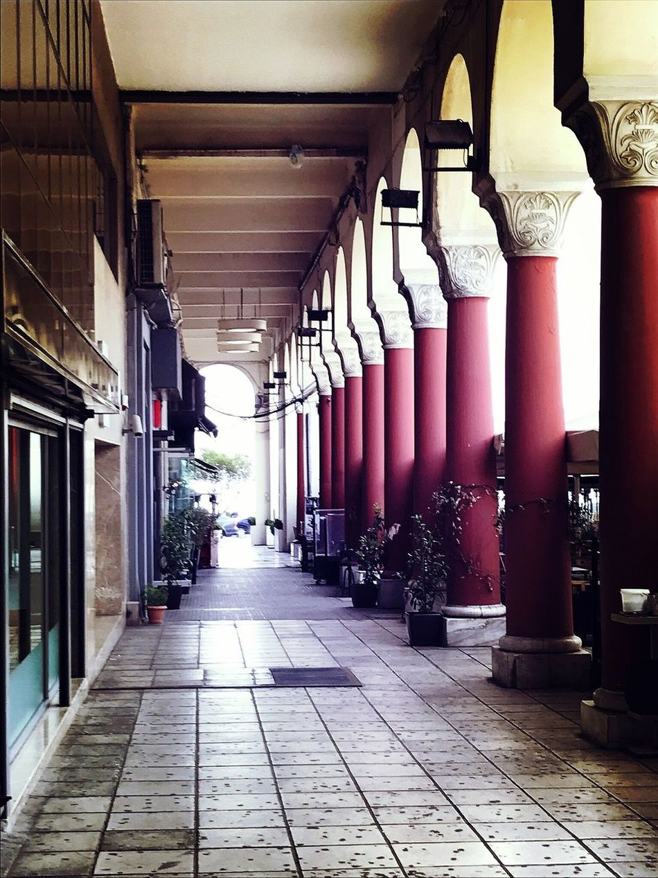 In A Row The Way Forward No People Architecture Built Structure Day Indoors  Architectural Column Colourful Greece Greece Thessaloniki Aristotelous Square