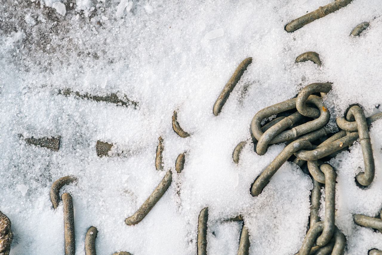 Chains in ice and snow Chain Chains Close-up Cold Temperature Day Nature No People Outdoors Snow Tire Chains Winter