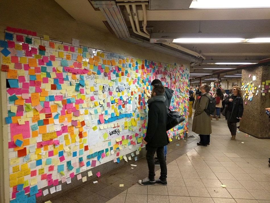 The Sticky Note Project New York New York City Newyorkcity Multi Colored Variation Adults Only Subway Station Metro Metro Station Discover Your City Disconnection Reality Residential Building Realizewhosplayingwho People Unhappy Livestylechange 2016 Colour Of Life Colorsplash Rainbow Underground