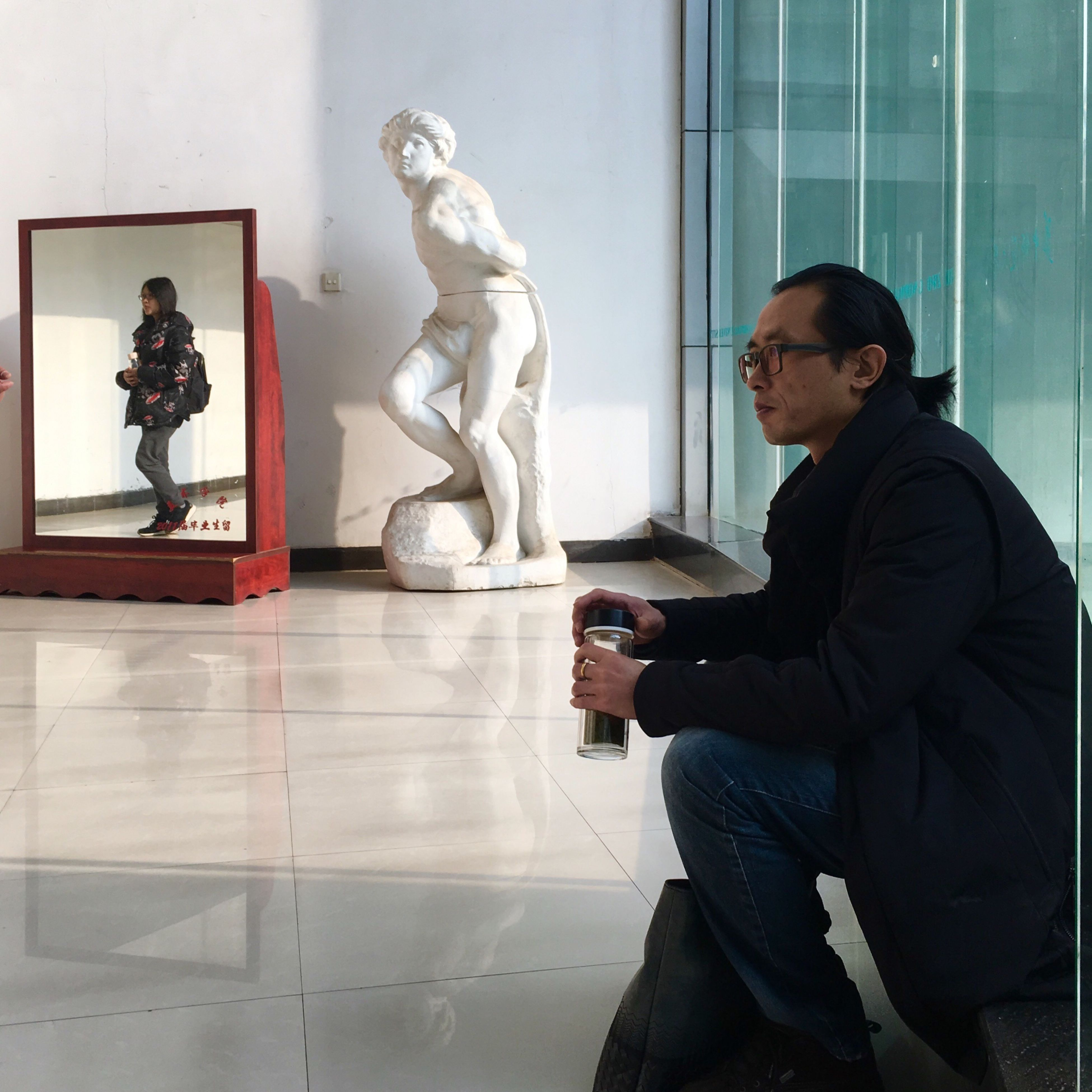 statue, sculpture, indoors, adult, people, day