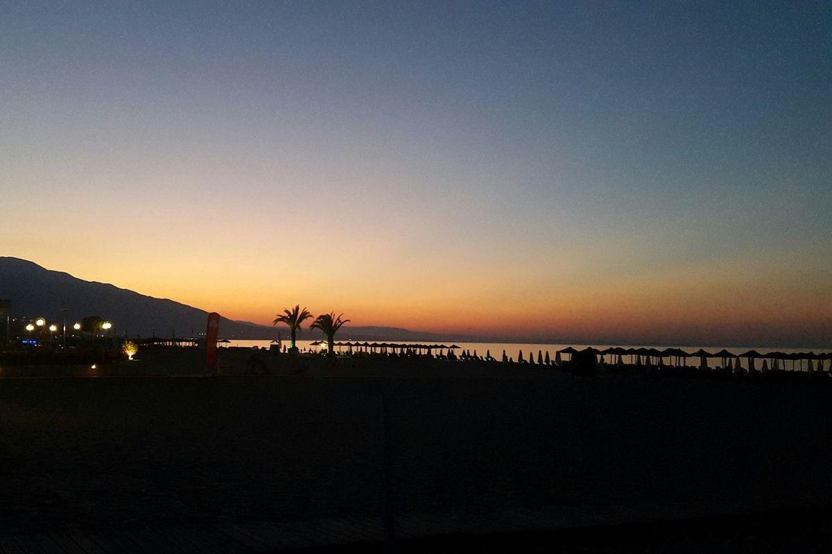 Summer Beach Night Shot Palms Sunset Sunset Silhouettes Greece