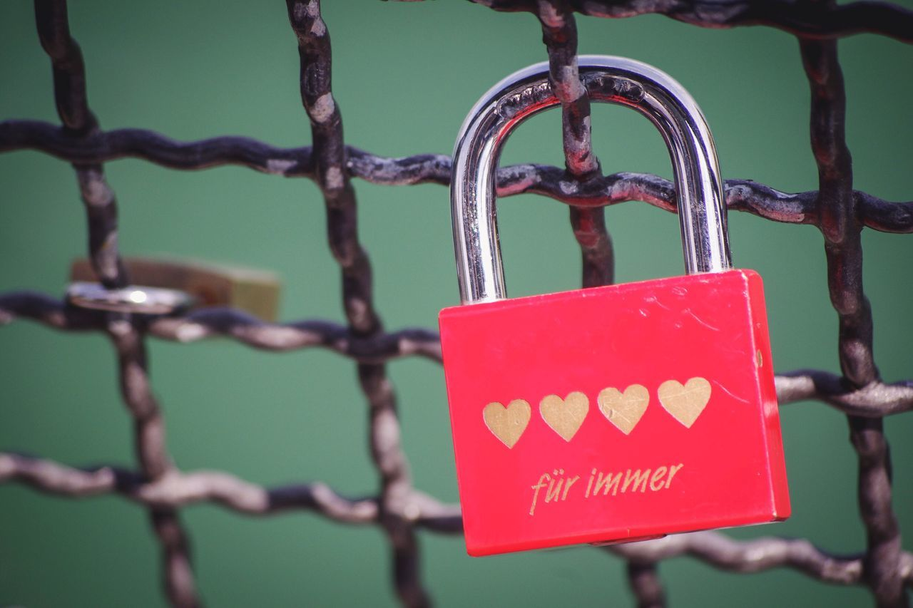 Hanging Safety Focus On Foreground Metal Close-up Outdoors Text Day No People Padlock Love Hearts Romance Promise Lock Bridge Red Golden German Language Forever Für Immer