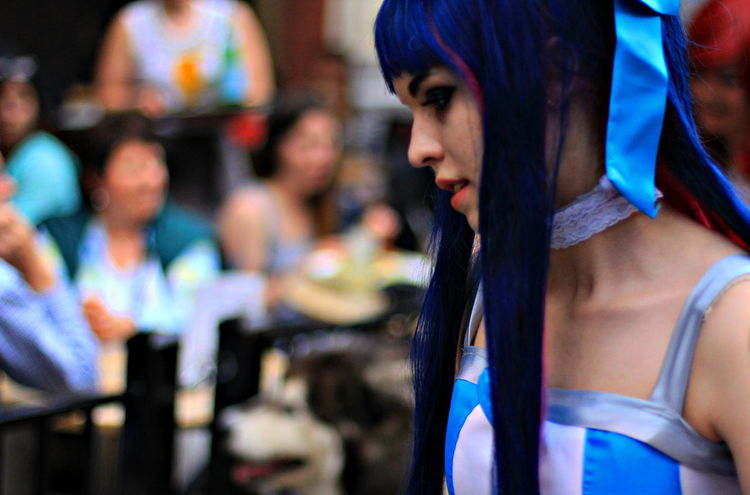 Beautiful Girl Blue Hair Blue Ribbon Close-up Cosplay Focus On Foreground Girl Headshot Manga Portrait Woman Fine Art Photography