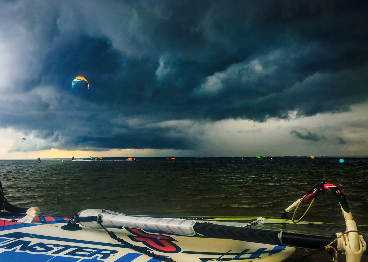 Activity Beach Beauty In Nature Cloud - Sky Day Horizon Over Water Kite Kitesurfing Nature Nautical Vessel No People Outdoors Scenics Sea Sea And Sky Sky Surf Surfing Thunderstorm Tranquility Water Water Activities Waterfront Windsurfing