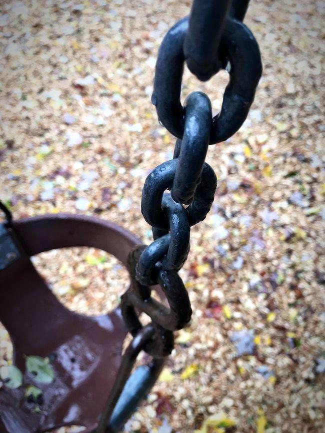 Metal Chain Strength Close-up Outdoors Day No People Childhood Baby Swing  Objects SwinggFalllParkkAloneeTranquil SceneeAutumnnBackgroundssVerticallWettDropssRainy Dayss