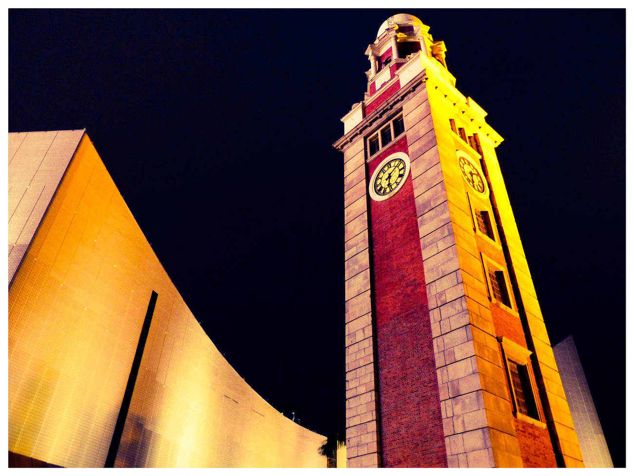 Hong Kong Hong Kong Victoria Harbour Built Structure Cityscapes Clock Tower Night View