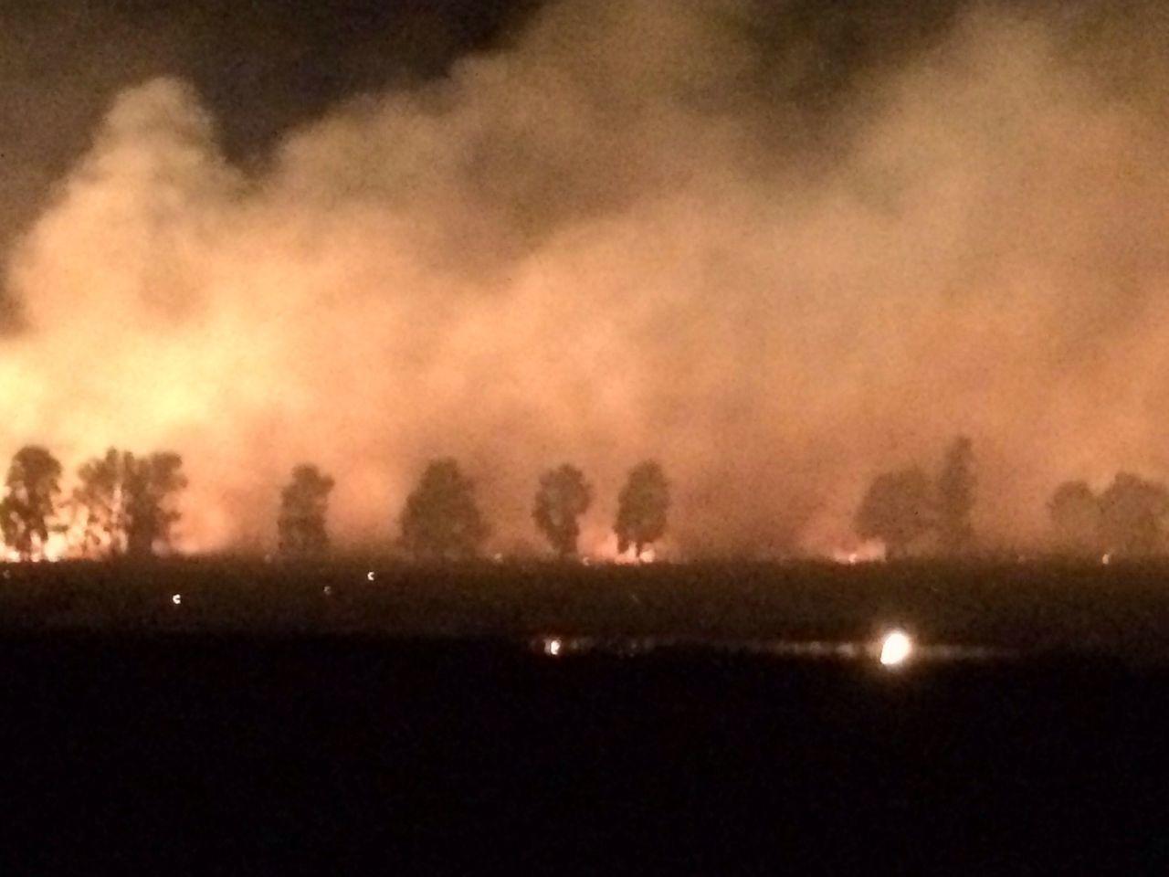 Controlled burn near Walbundie Nsw just after dusk