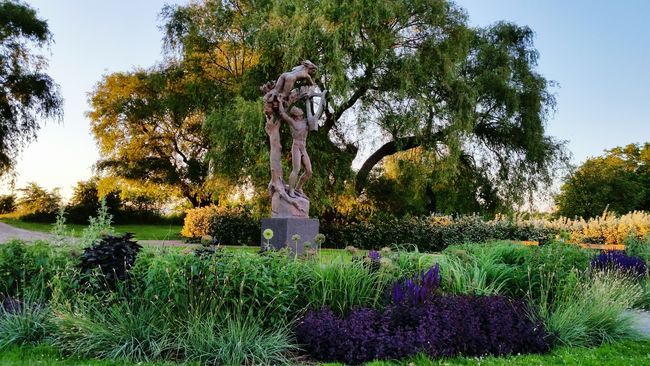 Statue Trees Nature Green Dusk Flowers Garden