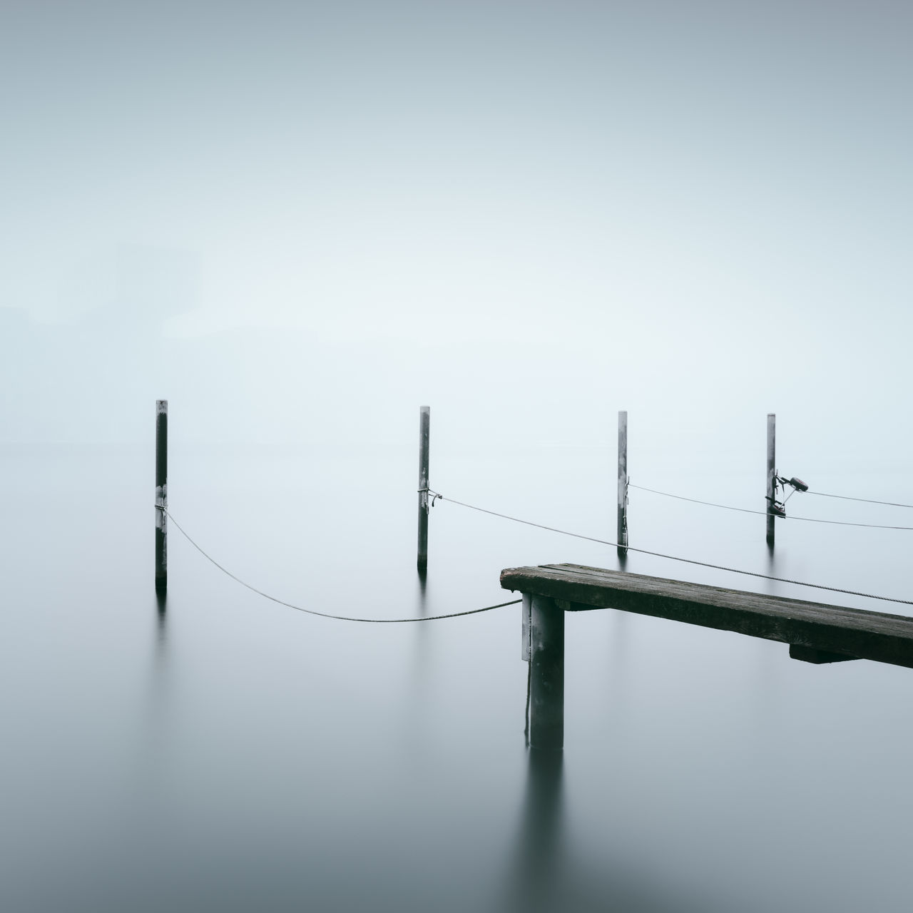 pier against sky during foggy weather Beauty In Nature Berlin Day Fine Art Fog Germany Horizon Over Water Long Exposure Muted Colors Nature No People Outdoors Philipp Dase Pier Scenics Sea Sky Tranquility Water Waterfront