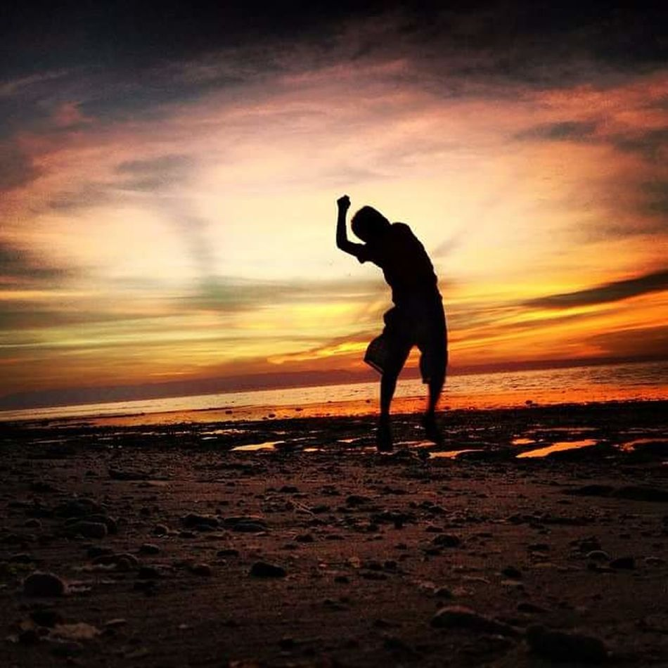 """Silhoutte"" Kid Enjoy Sunset Live Love Laugh Play Orange Learn"