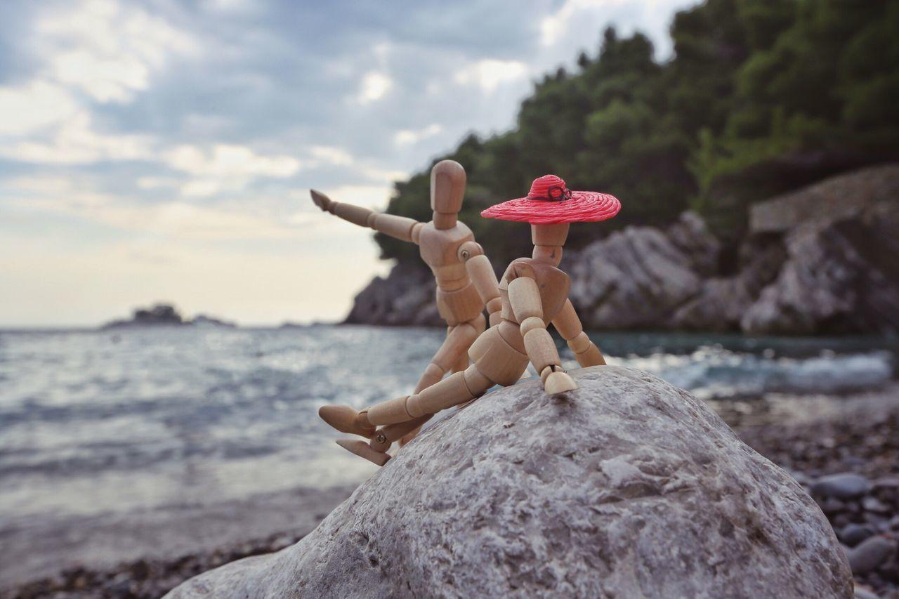 Hey, Twiggy, let's go swimming Woodyforest Seaside Toys Toyphotography CreativePhotographer Exceptional Photographs Creativity Seaside_collection Beach EyeEm Best Shots Montenegro Stone - Object Waterfront Landscape Beautiful