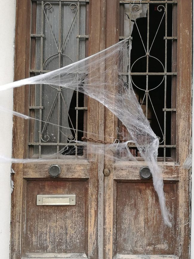Happy Halloween!!! Architecture Built Structure Damaged Weathered Building Exterior Destruction Backgrounds No People Day Close-up Outdoors Halloween Horrors Halloween Web Door Old Buildings Spectral Place Spectral Iron