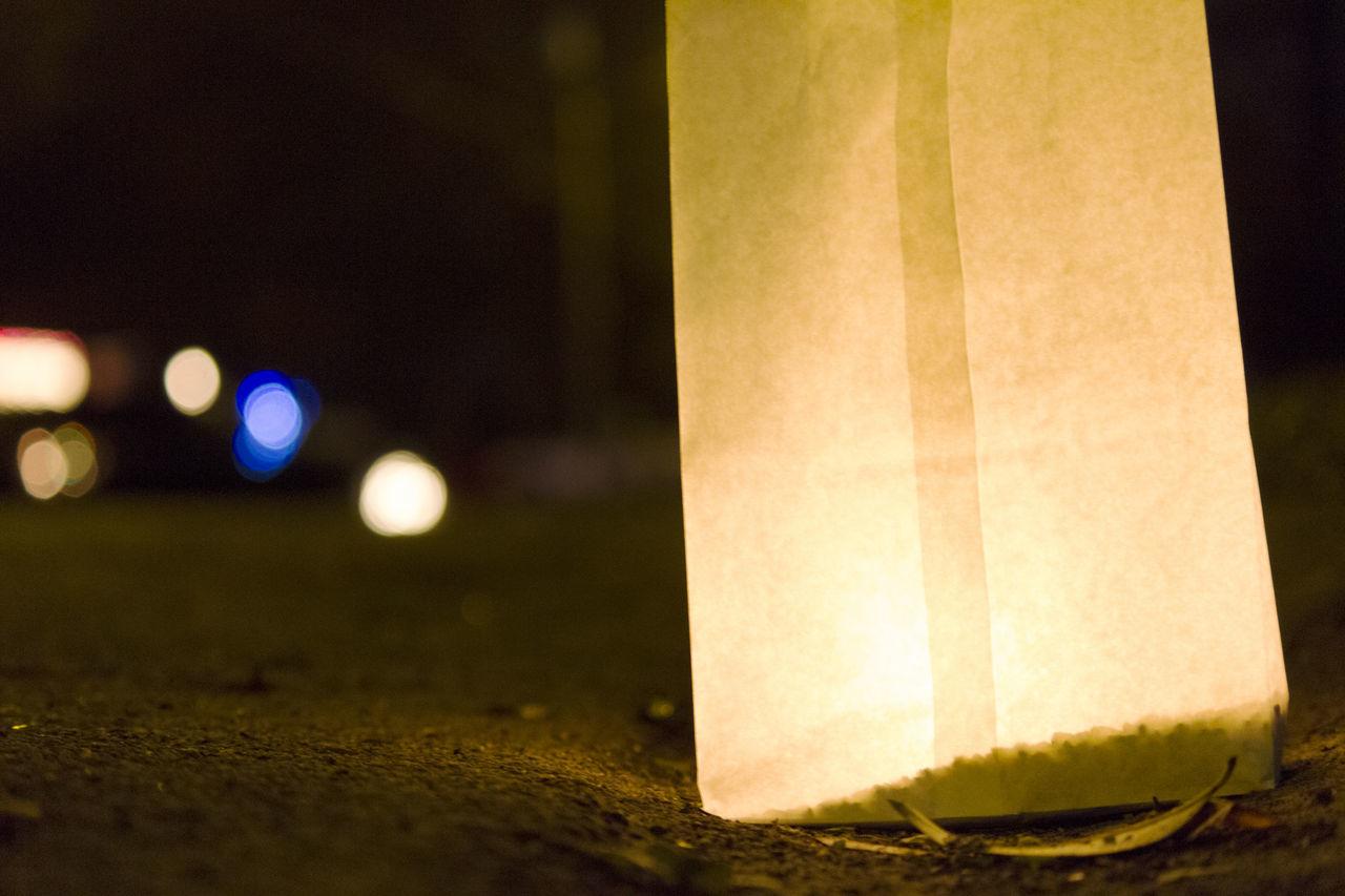 night, illuminated, close-up, no people, focus on foreground, outdoors