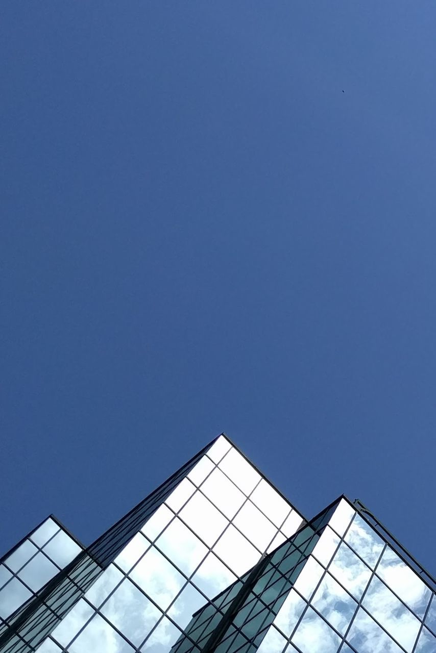 architecture, low angle view, built structure, clear sky, no people, day, building exterior, modern, outdoors, sky, city