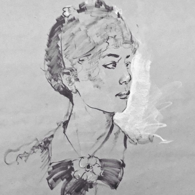 Brush and ink, contè drawing Sketch Drawings Blackdrawing Blackandwhite Portrait Of A Friend Art, Drawing, Creativity Portrait Of A Woman Artist Art Black & White Monochrome