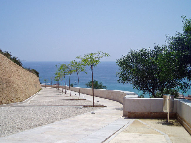 Alicante Blue Calm Castillo De Santa Bárbara Day Diminishing Perspective Footpath Horizon Over Water Nature Ocean Outdoors Pavement Regular Interval Scenics Sea Sea And Sky Sky Slope Stone Wall Summer Sunny The Way Forward Tranquil Scene Tranquility Tree