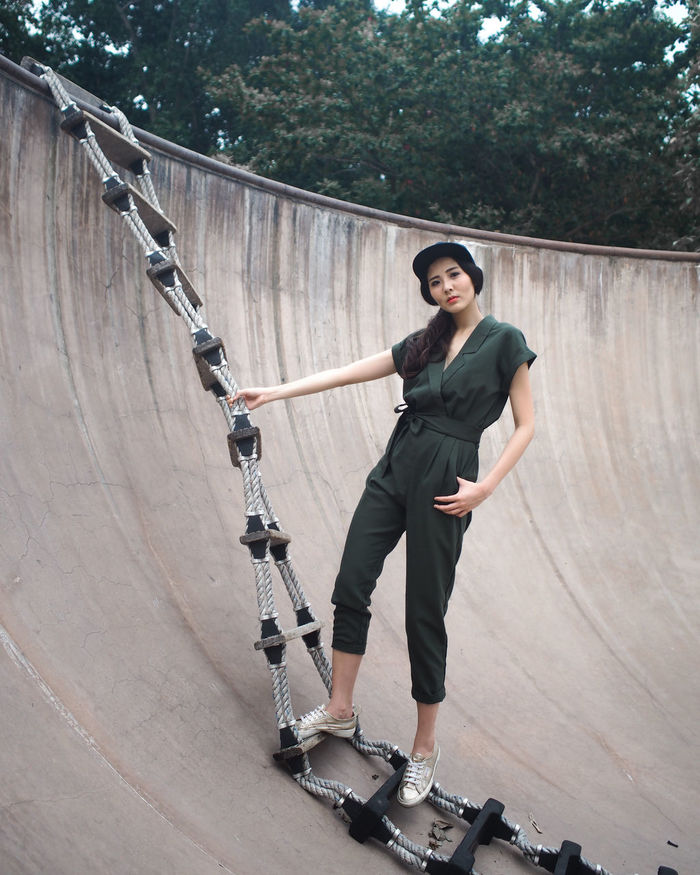 Adult Athletic Cityscape Day Full Length Green Ladder Leaning One Person Outdoors People Portrait Portrait Of A Woman Portraits Skateboard Park Skill  Sport Sporty Standing Travel Photography Tree Urban Fashion Women Women Who Inspire You Young Adult