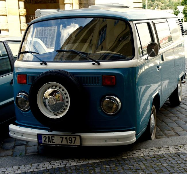 #Afternoon #Blue #cobblestone #late Summer #Old Car #Prague #reflection #Silver #vw Bully