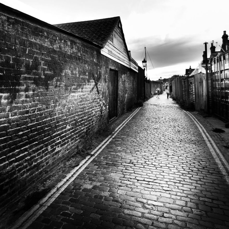 Architecture Black And White Brick And Cobbles Cobble Path Cobbled Street Diminishing Perspective Empty English Fishing Village Essex Leigh On Sea Narrow Old Leigh Old Style Outdoors Paula Puncher Sky Surface Level The Way Forward Vanishing Point Walkway
