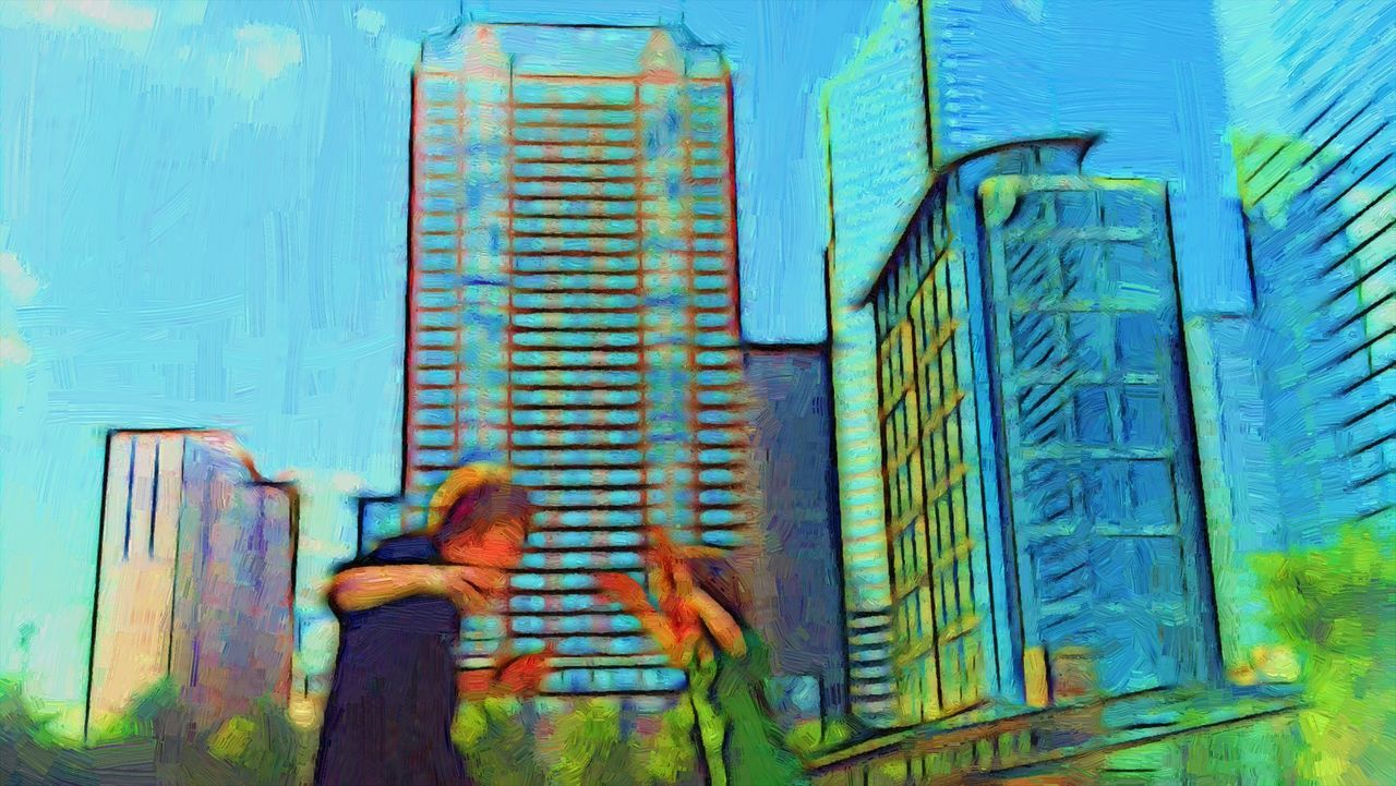 Photo Art Architecture City Skyline Buildings Multi Colored People Filters Painting Photoshop Akvis Painterly Effect People Kids Oil Painting Photograph