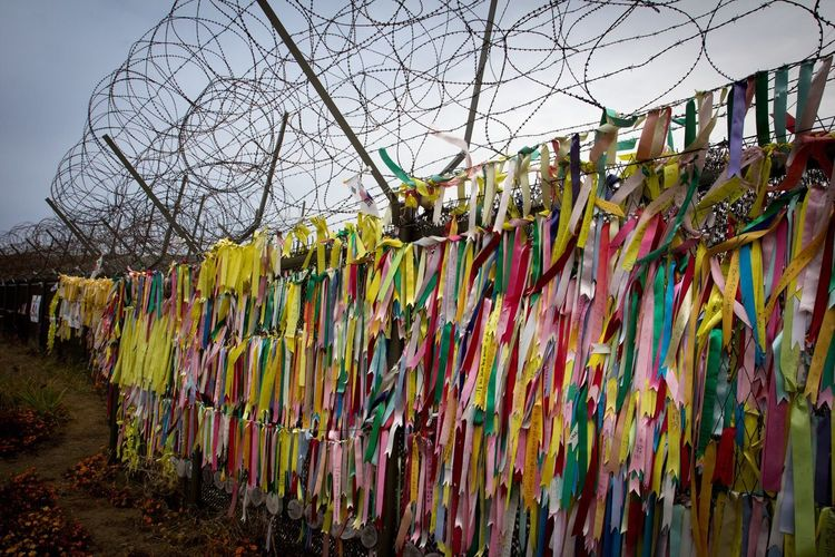 Imjingak Pyeonghoa-Nuri South Korea In A Row Multi Colored Hanging Variation Large Group Of Objects Abundance Order Repetition Bare Tree Choice Group Of Objects Display Day Outdoors Collection Colorful No People Arrangement Solitude Message
