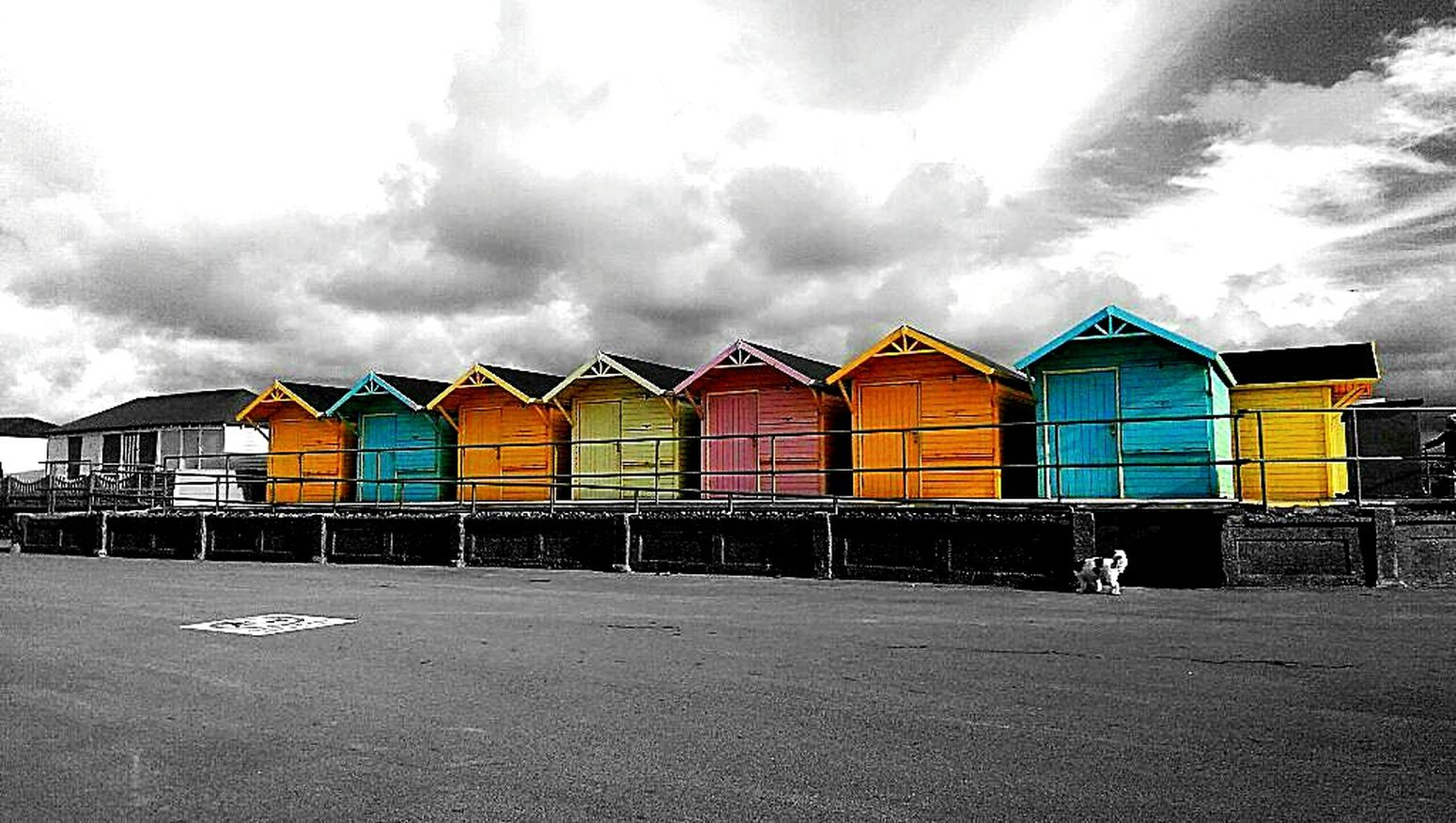 Fleetwood Beach huts Smartphonephotography blackandwhite photography Colour Splash No People Chexk This Out Uk United Kingdom