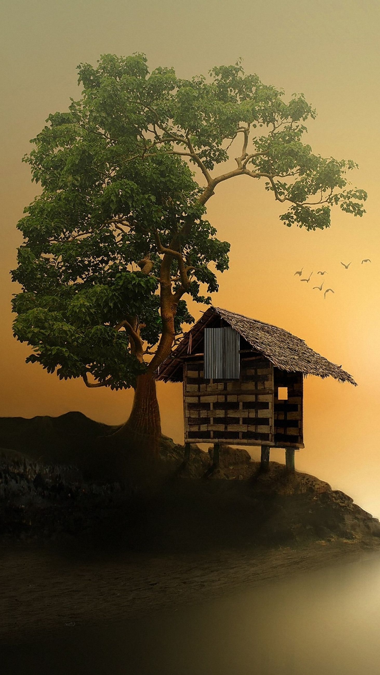 tree, sunset, built structure, no people, architecture, nature, scenics, tranquil scene, mountain, beauty in nature, water, outdoors, tranquility, sky, sea, building exterior, clear sky, day