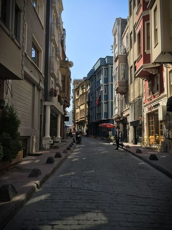 Street. Istanbul. Turkey. Perfect. #Turkey #colours #photography #streetphotography Architecture Building Exterior Built Structure City Clear Sky Day No People Outdoors Road Sky Street The Way Forward First Eyeem Photo