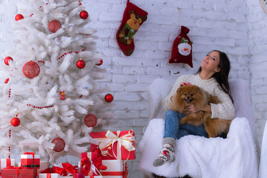 Only Women One Person Long Hair One Woman Only Young Adult Looking At Camera One Young Woman Only Portrait Beauty Smiling Beautiful Woman Dog❤ Christmas Party Anticipation Christmas Time Christmas Eve Christmas Spirit Elégance EyeEm Selects Celebration Christmas Present Domestic Animals Be. Ready.
