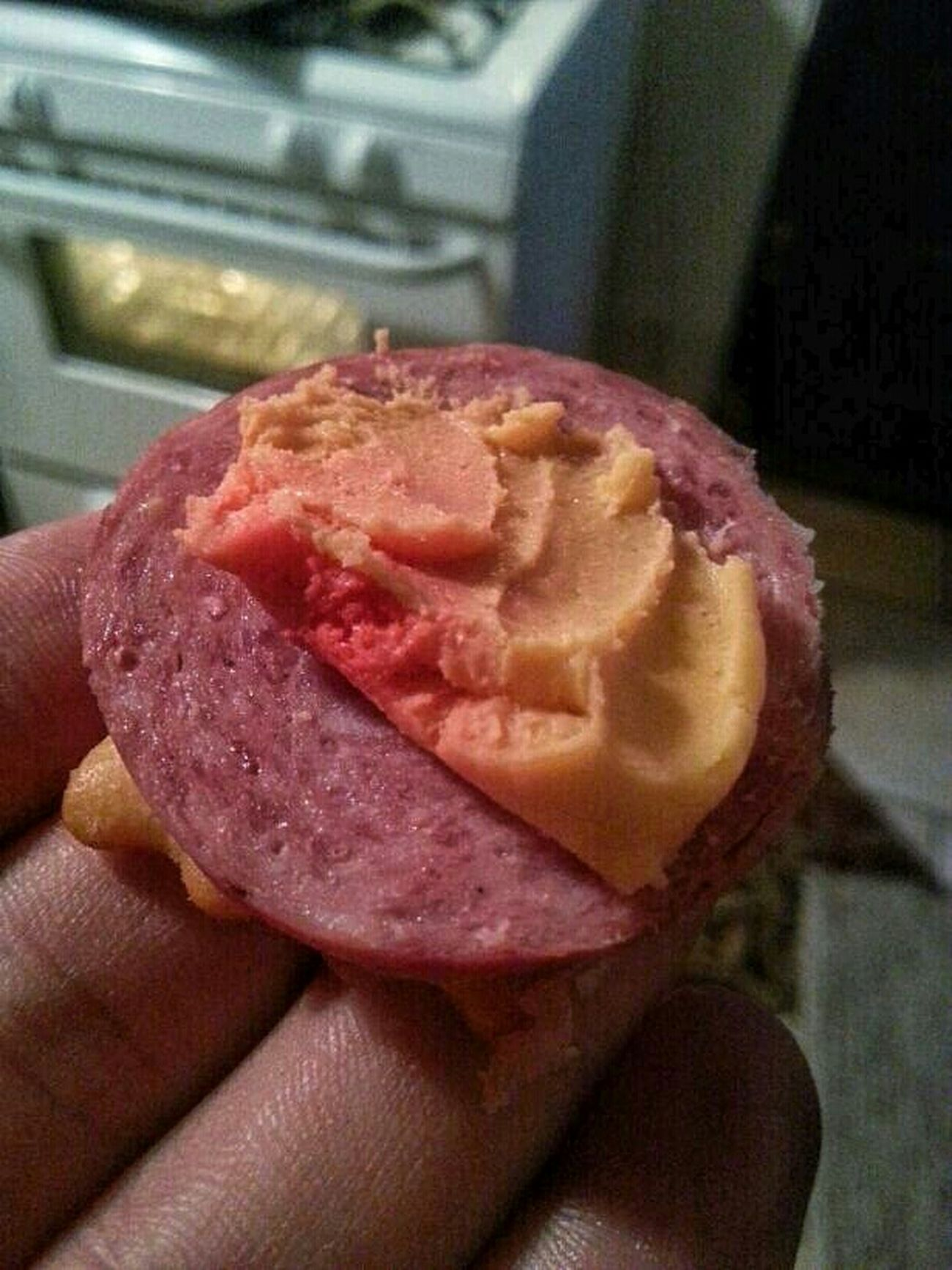 Port wine cheese & summer sausage on chicken-in-a-biscuit mmmmm Food Cheese Foodporn Sausage Cracker