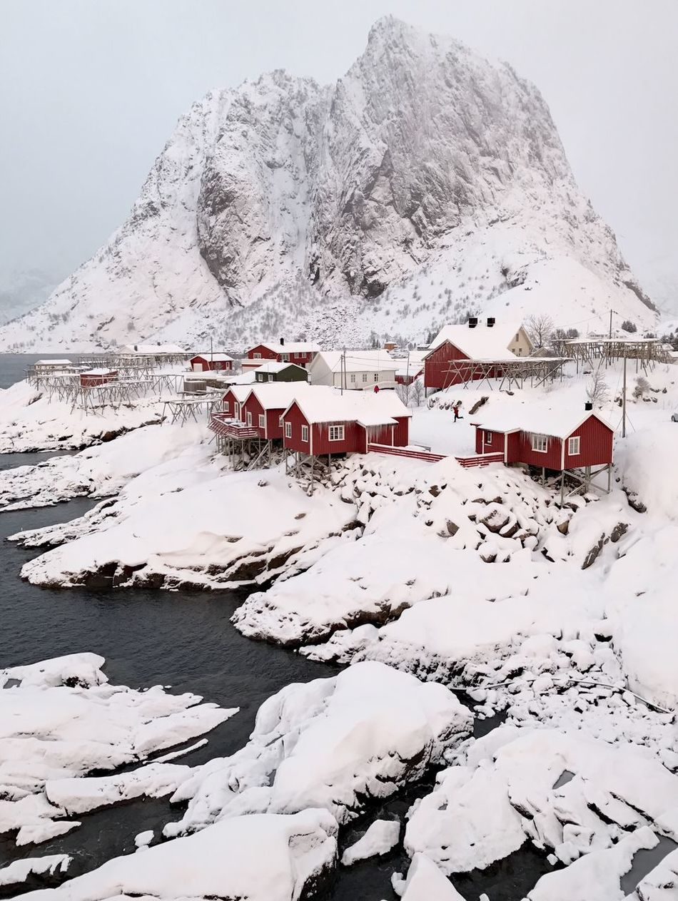 Snow Cold Temperature White Color Winter Building Exterior Architecture Mountain Built Structure Outdoors Nature Sand Day Tranquil Scene Beauty In Nature Landscape Scenics No People Sky Fishing Cottages Lofoten Islands Norway