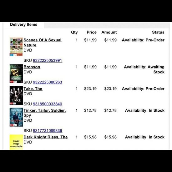 All paid for. This Tom Hardy infatuation is getting pricey ☺? TomHardy Hardy Eth DVD film tdkr bane soasn thetake ttsp bronson