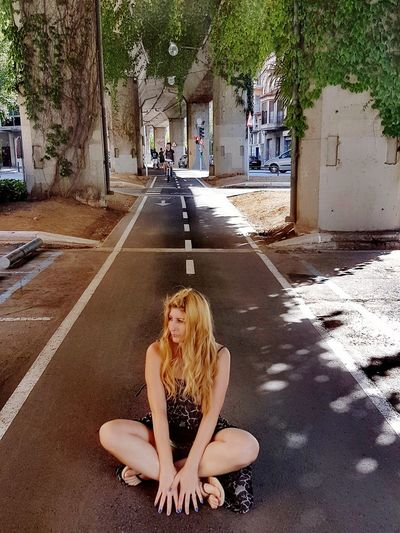 Nowheretogo Street Streetphotography People Model Pose Beautiful People Cycling Path Outdoors Beautiful Woman Fashionmodel  Thoughts Thoughtful Moment Long Hair Blond Hair Your Ticket To Europe EyeEmNewHere The Week On EyeEm Twoways Leopard Print