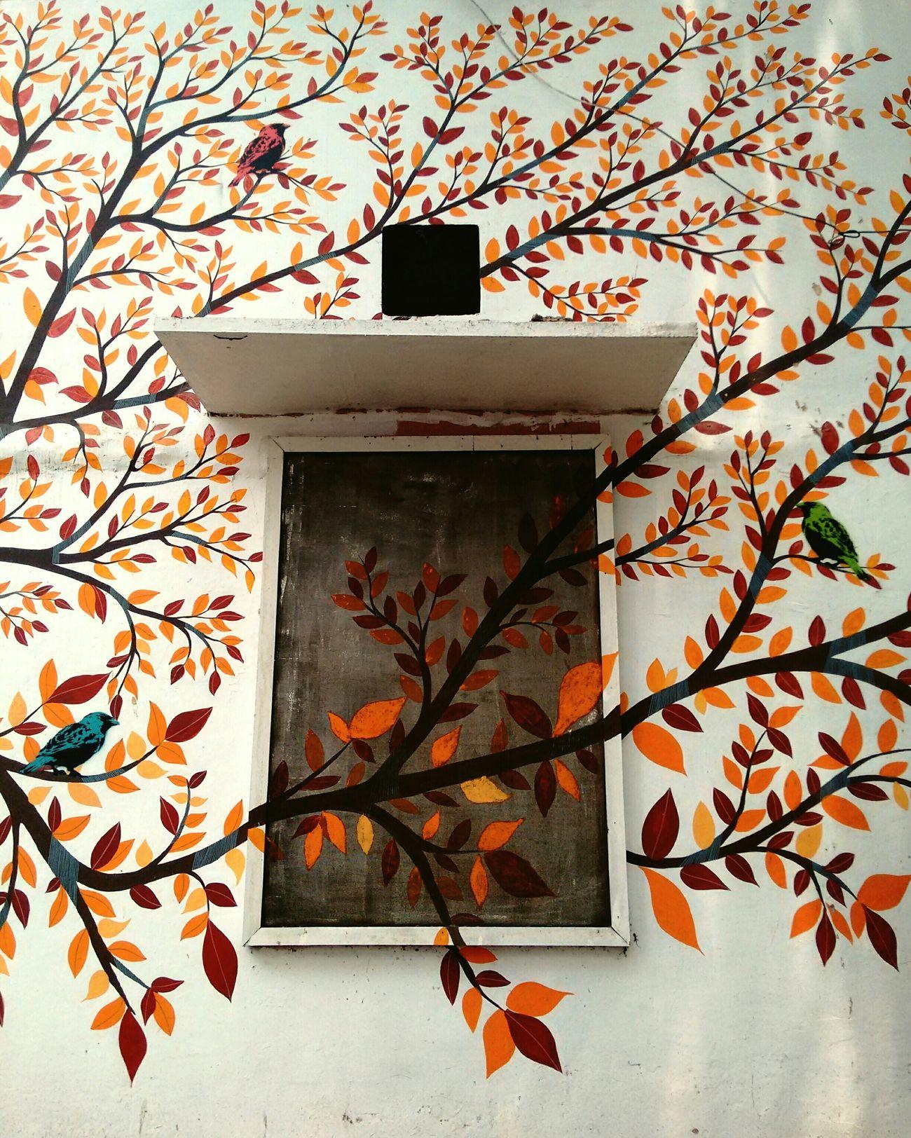 EyeEm Street Art Art Mural India Delhi Colors From My Point Of View EyeEm Best Shots DelhiGram Delhidiaries Streetphotography Lodhicolony Streets Of Delhi Wall Murals Folk Art  Details Colorful Mural Art Gond Art Window Wall Leaves Branches