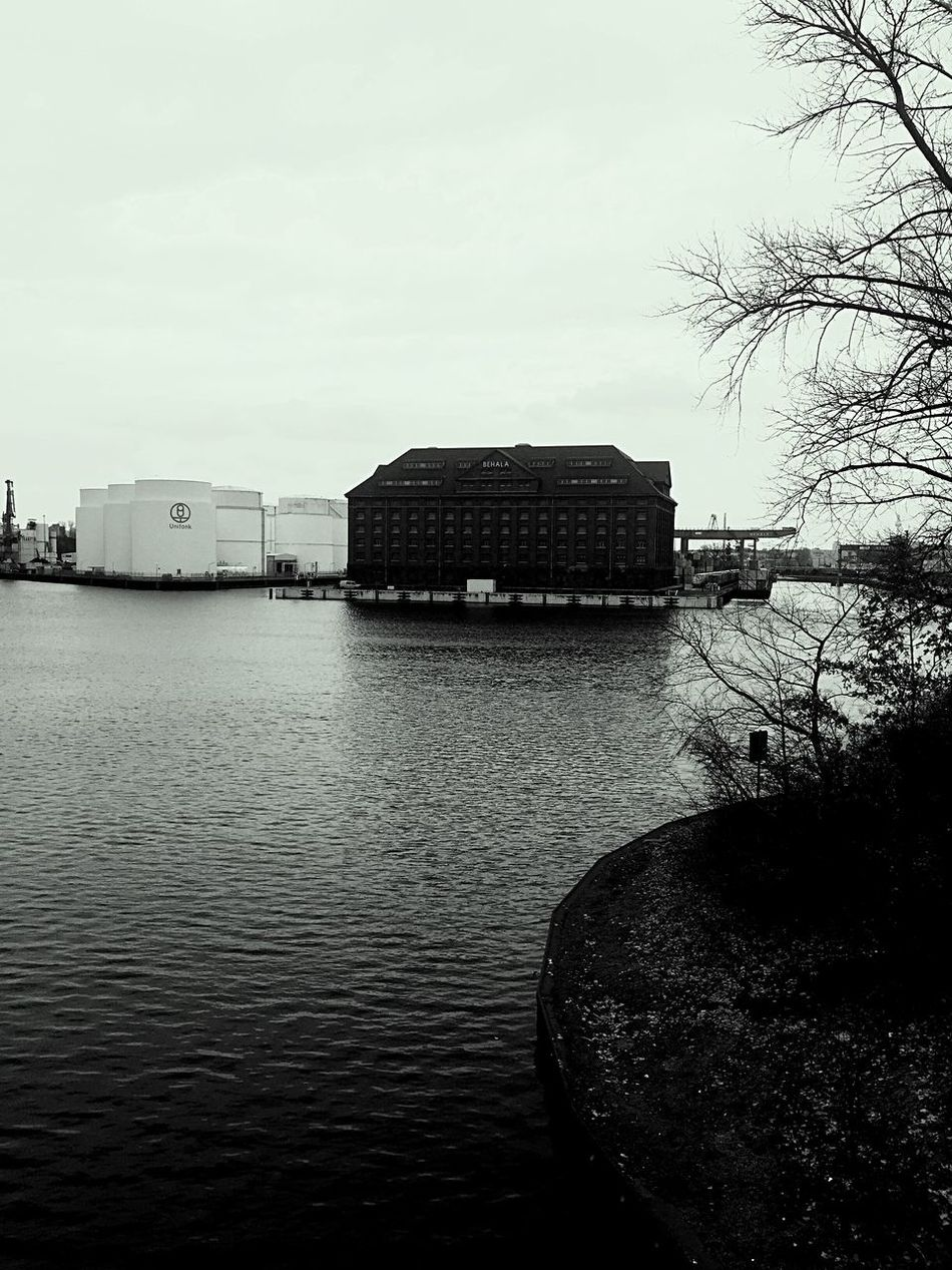 Water Architecture Building Exterior Built Structure Sky No People Outdoors Nature Day Tree Beauty In Nature Westhafen Berlin Blackandwhite Photography IPhoneography Neighborhood Snapshot Landscape Moment Of Silence