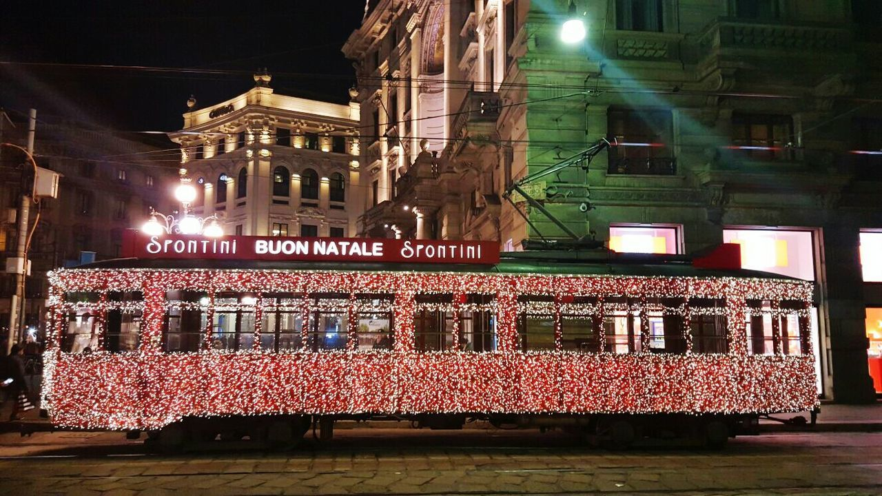 Tram cable car Town Milan Christmas Lights Building Exterior Architecture Built Structure Illuminated Night Religion Church Place Of Worship City Outdoors Sky Façade Spire  Old Town Local Landmark No People Gothic Style History