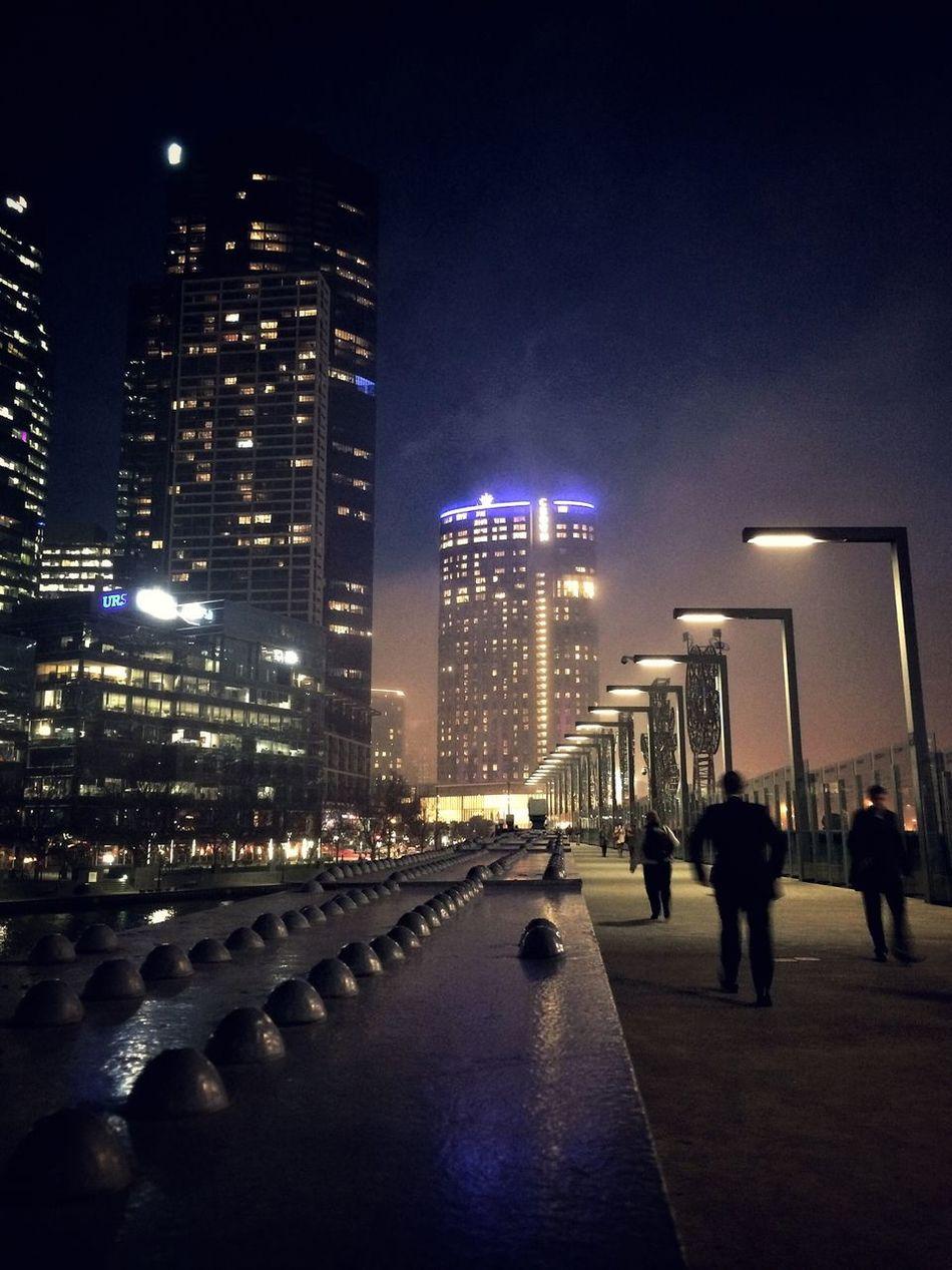 Melbourne dressed up in a colourful fog tonight // Sandridge Bridge // iP5s + Nightcap Fog City IPhoneography