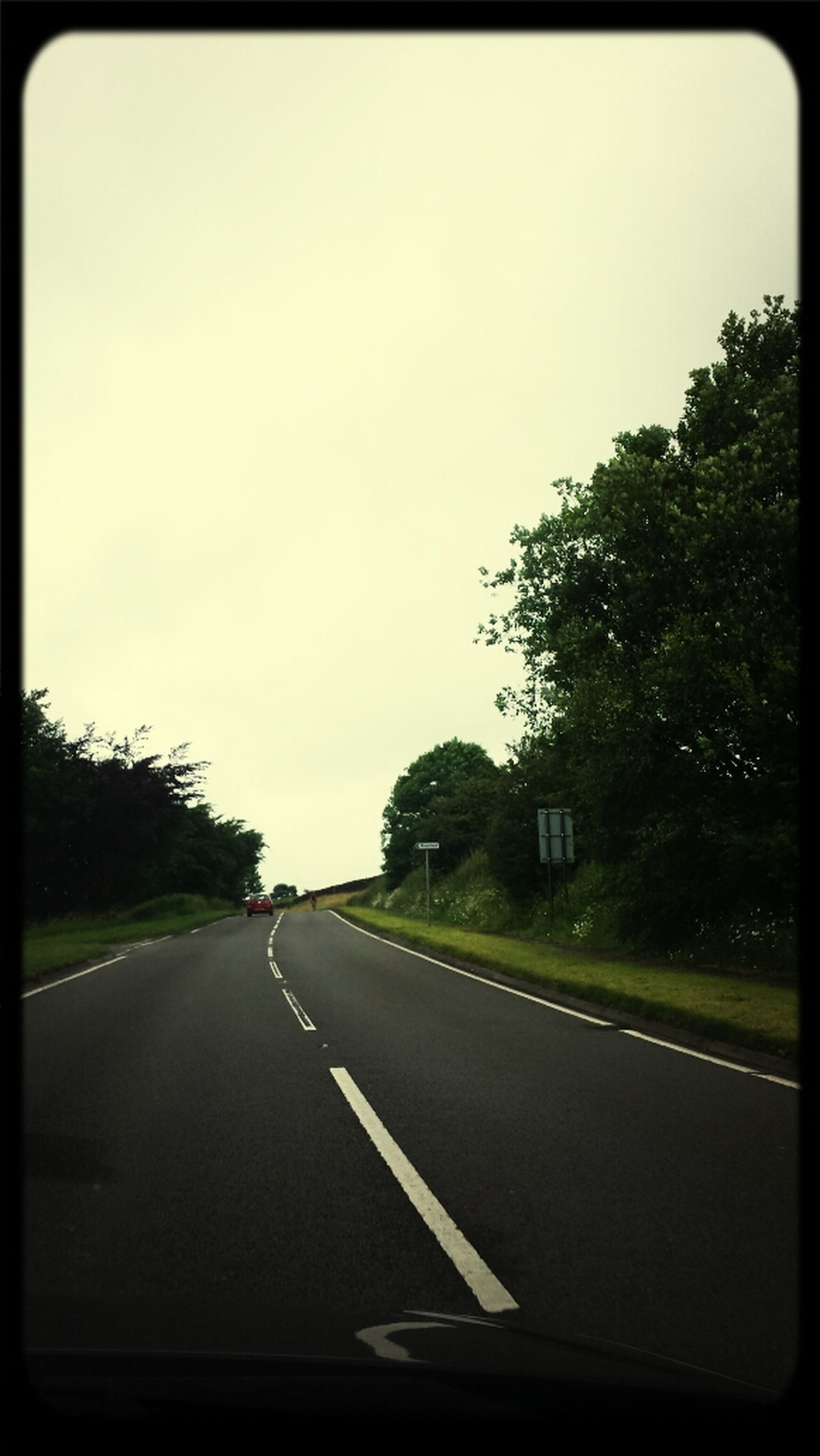 transportation, road, the way forward, road marking, diminishing perspective, tree, country road, vanishing point, car, transfer print, windshield, clear sky, sky, car point of view, mode of transport, asphalt, car interior, auto post production filter, empty, land vehicle