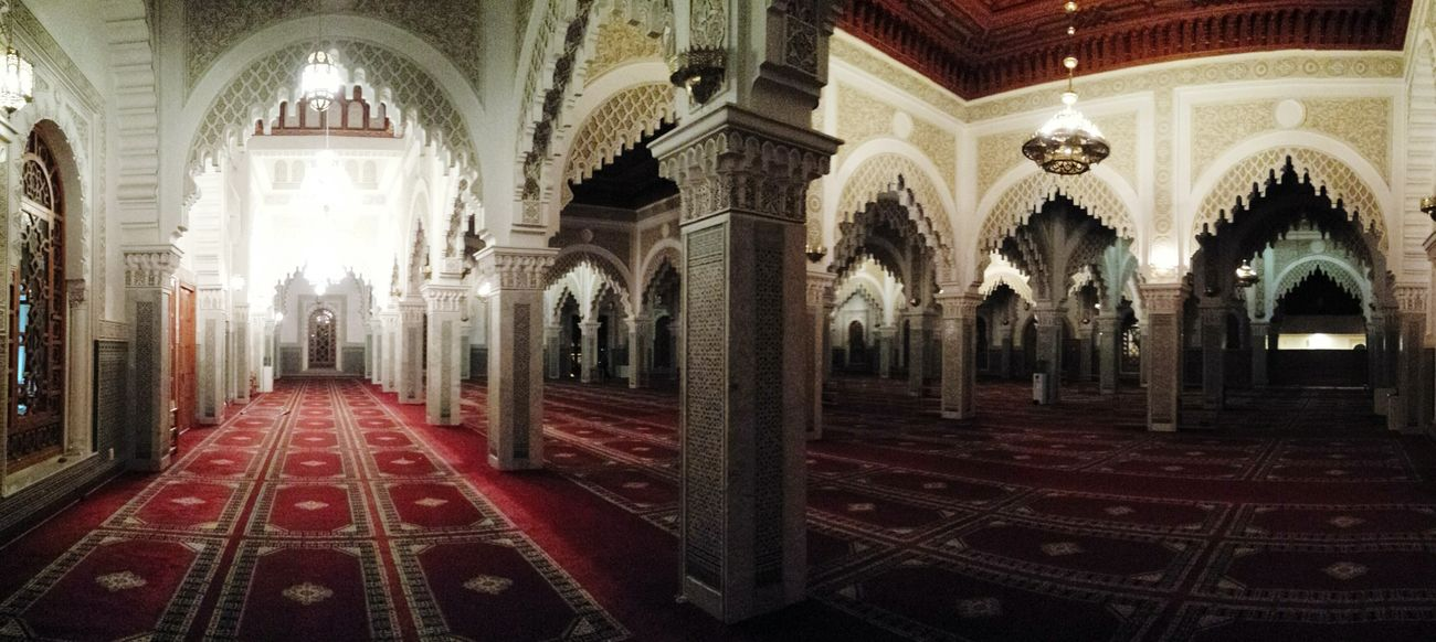 Panoramic Inside A Mosque Mosque Islamic Architecture Oujda City, Morocco Quiet Praying لا اله الا الله محمد رسول الله  Architecture