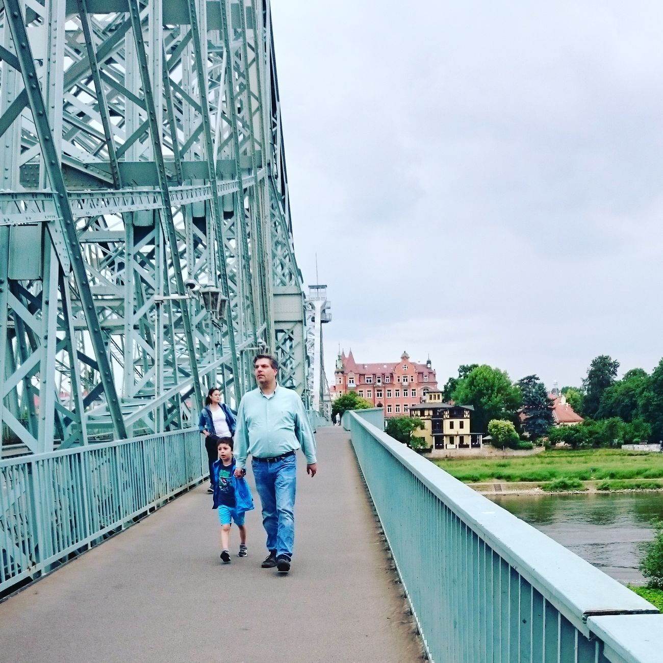 Perfect Match Turquoise Colored Blaueswunder Father And Daughter Bridge Colorful Small Town Outdoors Architecturephotography Eyemphotography