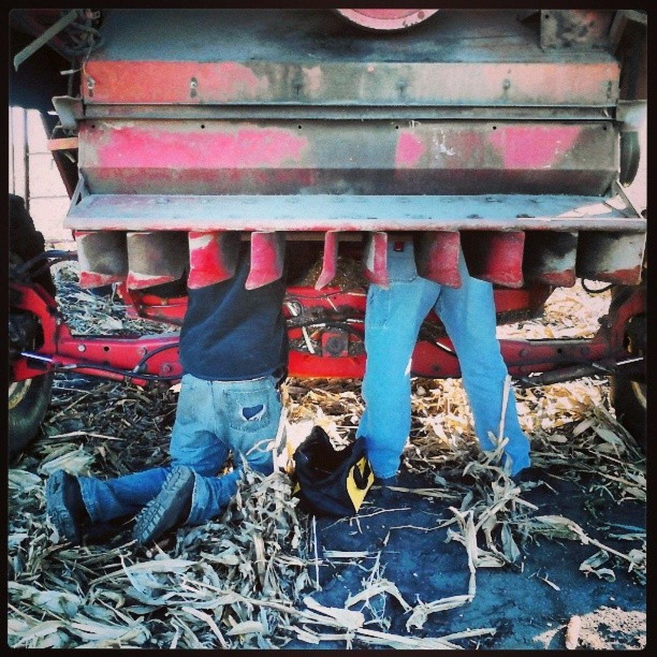 day, machinery, outdoors, low section, real people