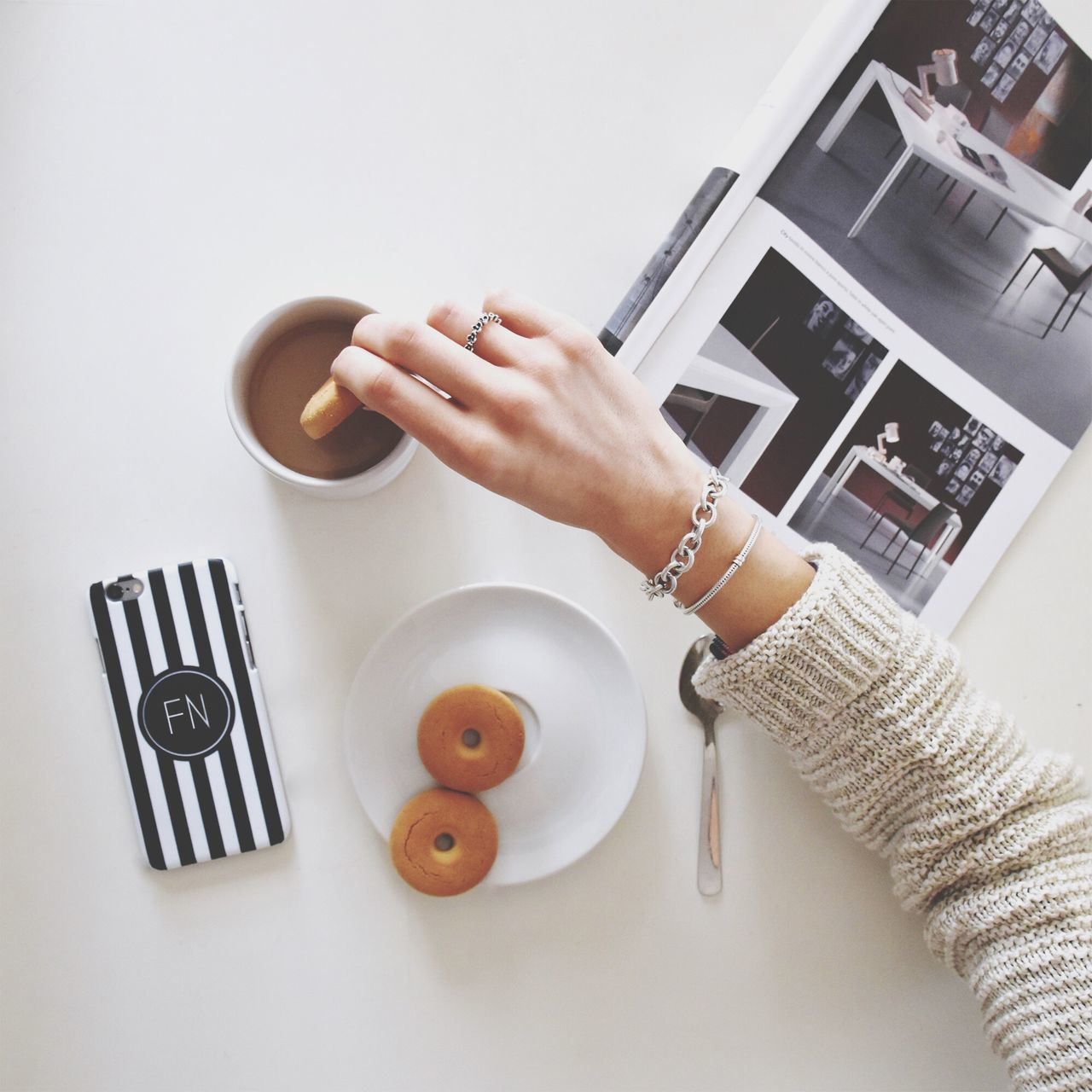 Beautiful stock photos of guten morgen, Coffee - Drink, Cookie, Copy Space, Cropped
