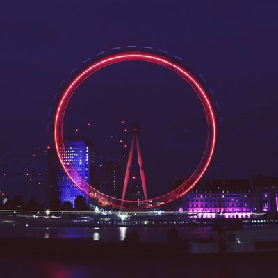 Night Ferris Wheel Circle Illuminated Long Exposure Arts Culture And Entertainment Amusement Park Nightlife Light Trail River Amusement Park Ride Red City Multi Colored Outdoors Cityscape Travel Destinations Sky No People London Tourist Attraction  London Eye Tourist Landmark Tourist Attraction  EyeEm LOST IN London
