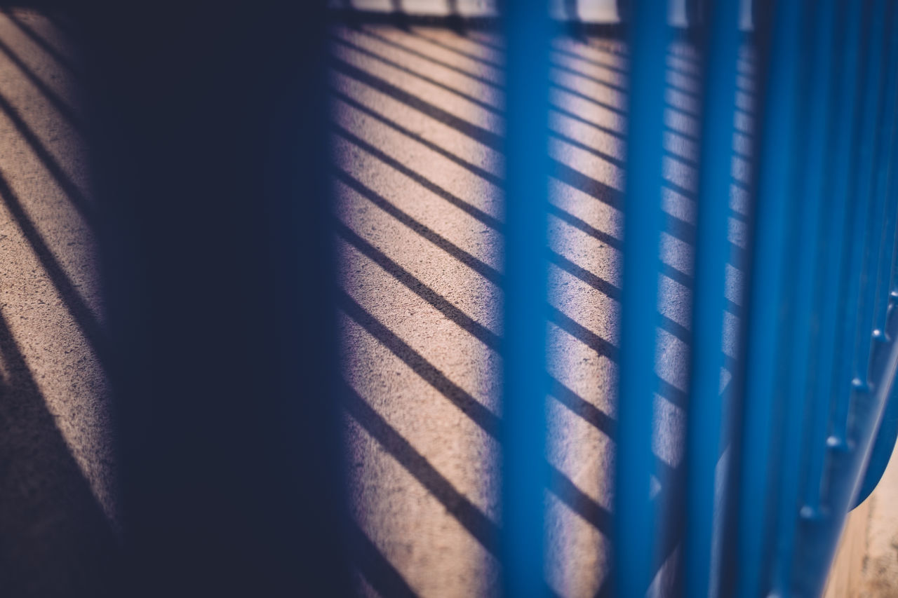 Backgrounds Blue Close-up Day Low Sun Pattern Railings Shadow Shadows Shadows And Light